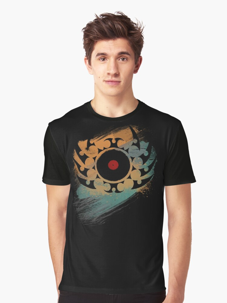 Retro Vinyl Records Music - Vinyl With Paint and Tribal Spikes - DJ TShirt by Denis Marsili
