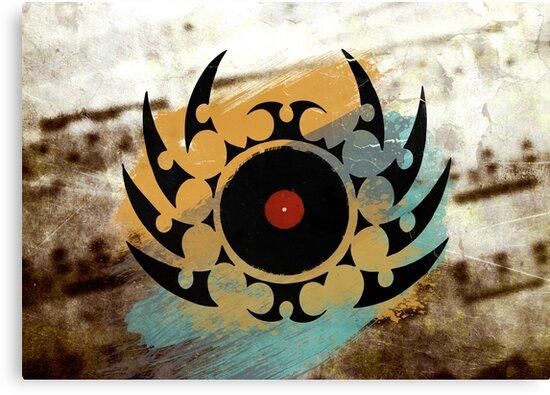 Retro Vinyl Records Music - Vinyl With Paint and Tribal Spikes - DJ TShirt by Denis Marsili