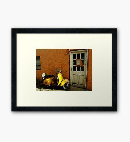 Vespa At The Door Framed Print