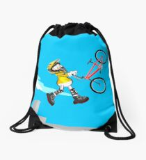 Boy walking in the air with his bicycle BMX Drawstring Bag