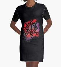 Cool Peace Sign with Paint Graphic T-Shirt Dress