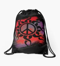 Cool Peace Sign with Paint Drawstring Bag