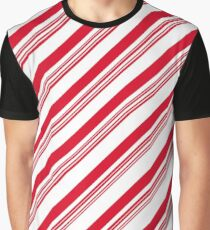 Red Candy Cane Stripes Graphic T-Shirt