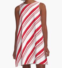 Red Candy Cane Stripes A-Line Dress