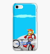 Boy on the edge of the ramp with his BMX bike iPhone Case/Skin