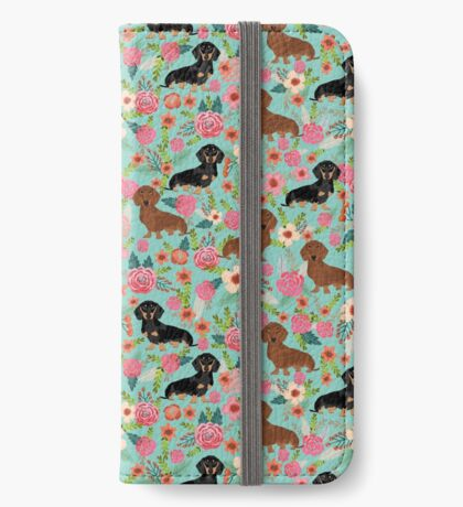 Dachshund florals dog breed pet friendly pattern gifts iPhone Wallet