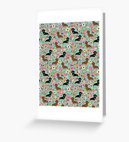 Dachshund florals dog breed pet friendly pattern gifts Greeting Card