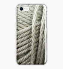 Silver Yarn Texture Close Up iPhone Case/Skin