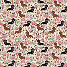 Dachshund florals dog breed pet friendly pattern gifts by PetFriendly
