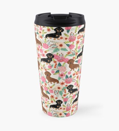 Dachshund florals dog breed pet friendly pattern gifts Travel Mug