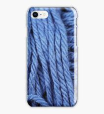 Iridescent Blue Yarn Texture Close Up iPhone Case/Skin