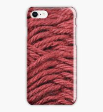 Maroon Yarn Texture Close Up iPhone Case/Skin