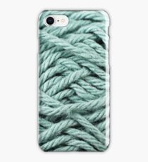 Pale Blue Yarn Texture Close Up iPhone Case/Skin