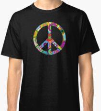 Peace Sign Cool Retro Flowers Design Classic T-Shirt