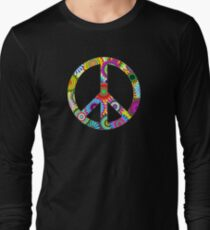 Peace Sign Cool Retro Flowers Design Long Sleeve T-Shirt