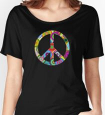 Peace Sign Cool Retro Flowers Design Women's Relaxed Fit T-Shirt