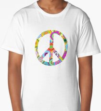 Peace Sign Cool Retro Flowers Design Long T-Shirt