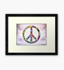 Peace Sign Cool Retro Flowers Design Framed Print