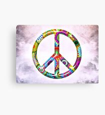 Peace Sign Cool Retro Flowers Design Canvas Print