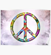 Peace Sign Cool Retro Flowers Design Poster