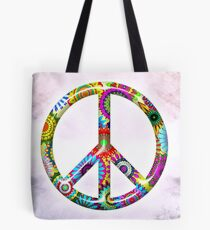 Peace Sign Cool Retro Flowers Design Tote Bag
