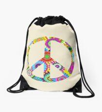 Peace Sign Cool Retro Flowers Design Drawstring Bag