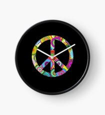 Peace Sign Cool Retro Flowers Design Clock