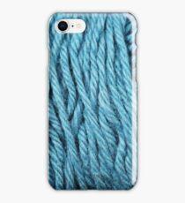 Sea Blue Yarn Texture Close Up iPhone Case/Skin