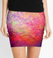 Modern Colorful Cool New Vivid Distressed Texture Abstract Mini Skirt