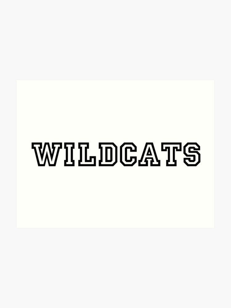 Wildcats Text Black (High School Musical)   Art Print