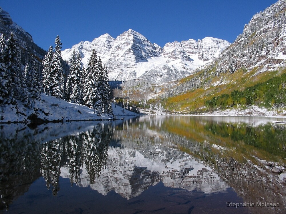 """Morning Sun on Midnight Snow, Maroon Bells, Colorado"" by Stephanie McIsaac"