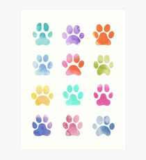 Watercolour Paw Prints, Dog Paws Art Print