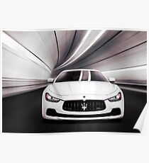 Maserati Ghibli S Q4 luxury car in a tunnel art photo print Poster