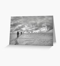 Climbing team on the glacier Greeting Card