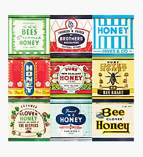 Vintage honey tin packaging labels wall art  Photographic Print