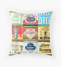 Vintage honey tin packaging labels wall art  Throw Pillow