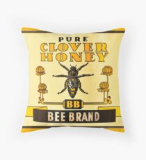 1950s Lemon Yellow Bee Brand Honey Tin Design Throw Pillow