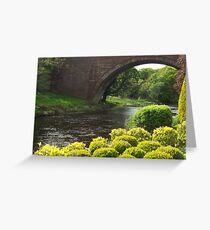 Bushes , Bridge and River Greeting Card