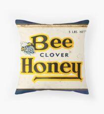 Vintage Yellow & Navy Typographic Honey Tin Design Throw Pillow