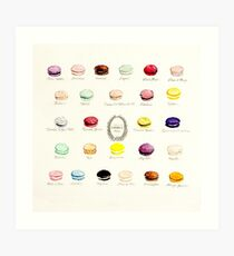 Laduree Macarons Flavor Menu Art Print
