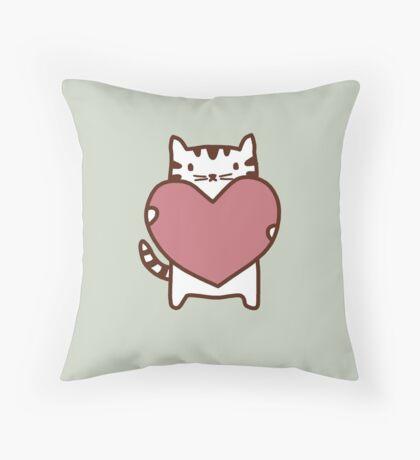 Cat's Heart Throw Pillow