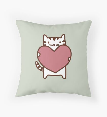 Cat's Heart Throw Pillow