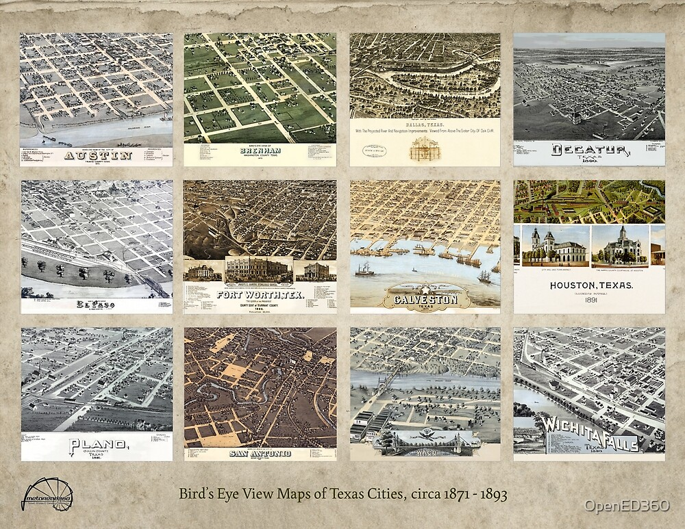 Texas Old Bird's Eye View Cities  by OpenED360