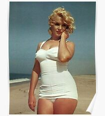 Marilyn Monroe White Swimsuit Poster