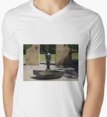 Man And Boat Sculpture Men's V-Neck T-Shirt