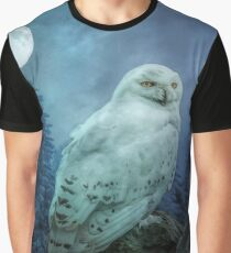 Moonlit Snowy owl Graphic T-Shirt