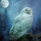 Moonlit Snowy owl by Brian Tarr