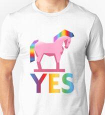 Rainbow Trojan Horse Says Yes Unisex T-Shirt