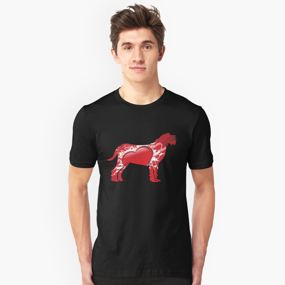 Spinone Italiano silhouette covered with red hearts Unisex T-Shirt Front