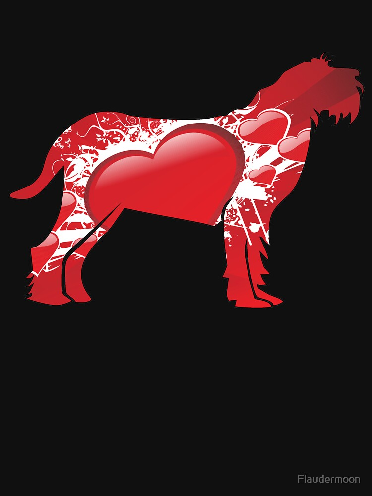 Spinone Italiano silhouette covered with red hearts by Flaudermoon